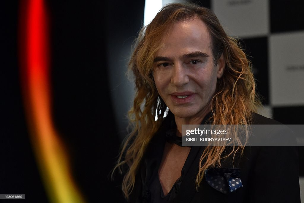 British designer John Galliano gives a press conference on his new work as a consultant for Russian cosmetics retailer L'Etoile in at the Barvikha...