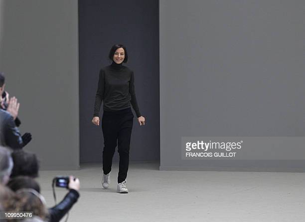 British designer Phoebe Philo acknowledges the public following the Celine Autumn/Winter 20112012 readytowear collection show on March 6 2011 in...
