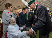 British Dieppe veteran Freddie Walker 3 Commando with Sister AgnesMarie Valois in Canada Square Dieppe France 19 August 2013 during a ceremony on the...
