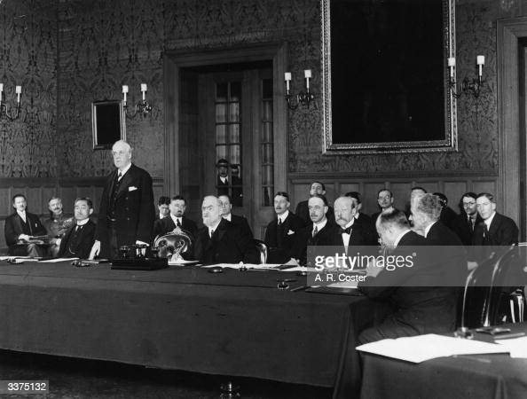 British diplomat and former prime minister Arthur Balfour addressing the first meeting of the Council of the League of Nations in Geneva November 15...