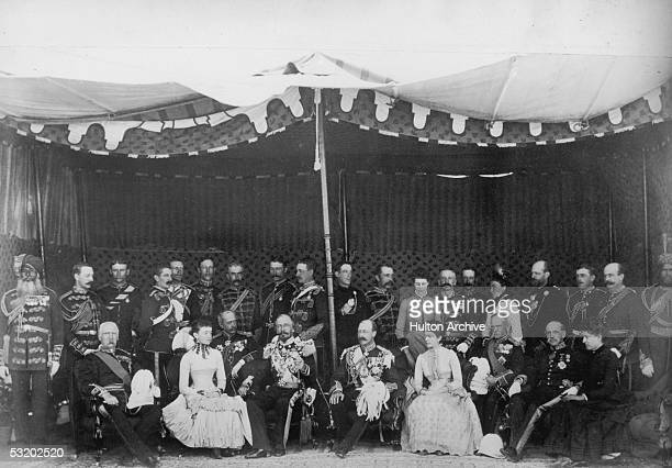 British diplomat Frederick Temple HamiltonTempleBlackwood 1st Marquess of Dufferin and Ava Viceroy of India at Rawalpindi with the Duke of Connaught...