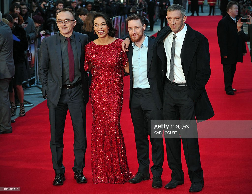 British director Danny Boyle, US actress Rosario Dawson, Scottish actor James McAvoy and French actor Vincent Cassel pose for pictures on the red carpet as they arrive to attend the world premiere of Trance in central London on March 19, 2013.