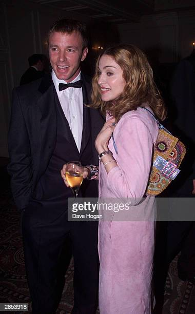 British director Guy Ritchie and his wife American pop star Madonna attend the Evening Standard Film Awards at the Savoy Hotel on February 6 2000 in...