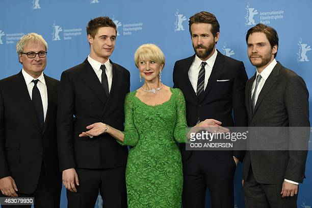 British director Simon Curtis British actor Max Irons British actress Helen Mirren Canadian actor Ryan Reynolds and German actor Daniel Bruehl pose...