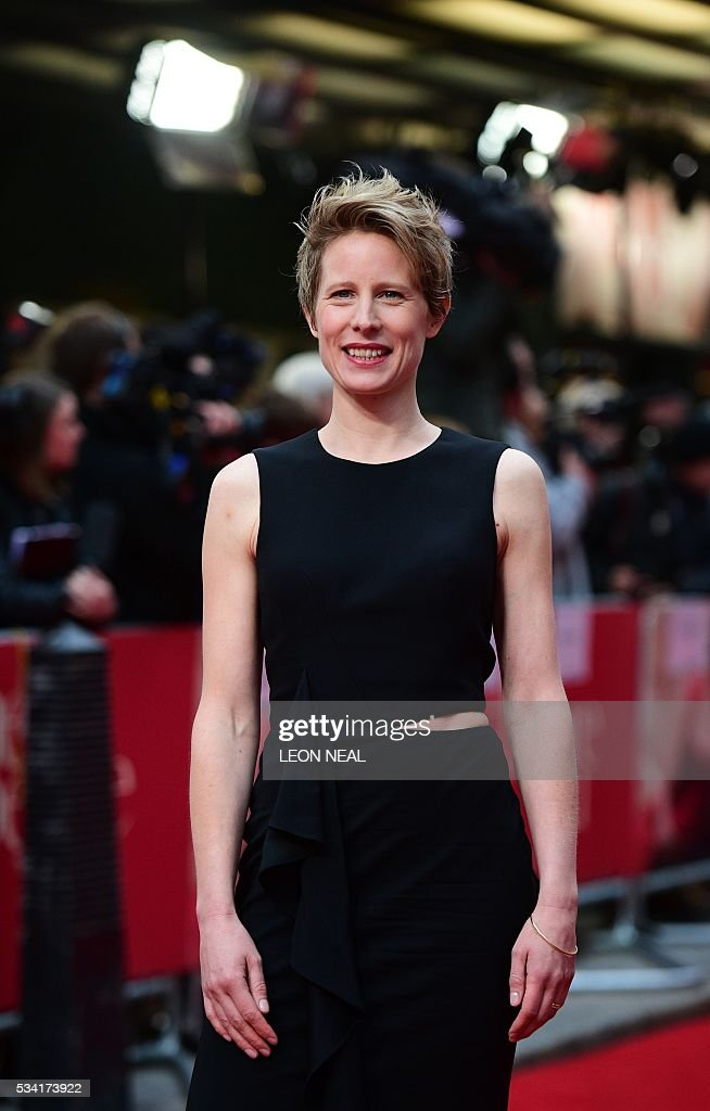 British director Thea Sharrock for pictures as she arrives for the European Premiere of the film 'Me Before You' in central London, on May 25, 2016. / AFP / LEON