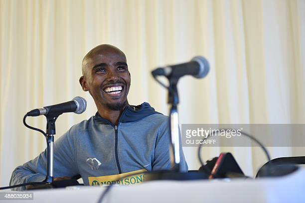 British distance runner Mo Farah smiles as he addresses a press conference after winning the men's elite race at the Great North Run halfmarathon in...