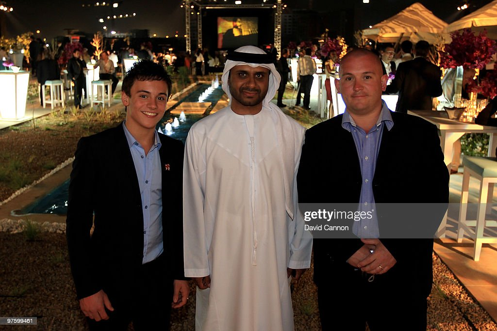 British Diver, Thomas Daley and Jamal Saeed Saaleh Al Nuaimi, GM of Etisalat Abu Dhabi and Rob Daley attend the Laureus Welcome Party part of the Laureus Sports Awards 2010 at the Fairmount Hotel on March 9, 2010 in Abu Dhabi, United Arab Emirates.