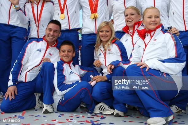 British divers Blake Aldridge Tom Daley Tonia Couch Stacie Powell and Tandi Gerrard pose for the cameras during the Team GB homecoming Parade in...