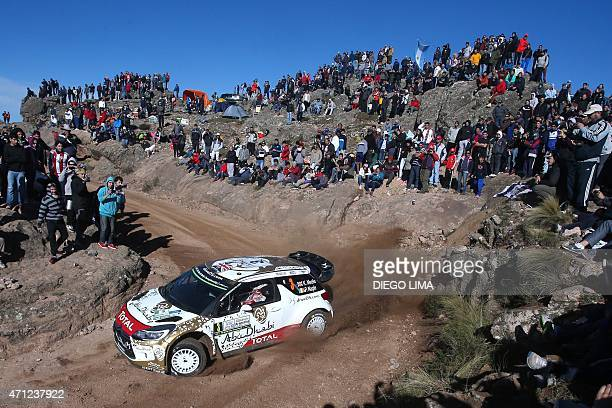 British driver Kris Meeke steers his Citroen DS3 WRC with his codriver Paul Nagle from Ireland during the ss11 of the WRC Argentina 2015 near El...