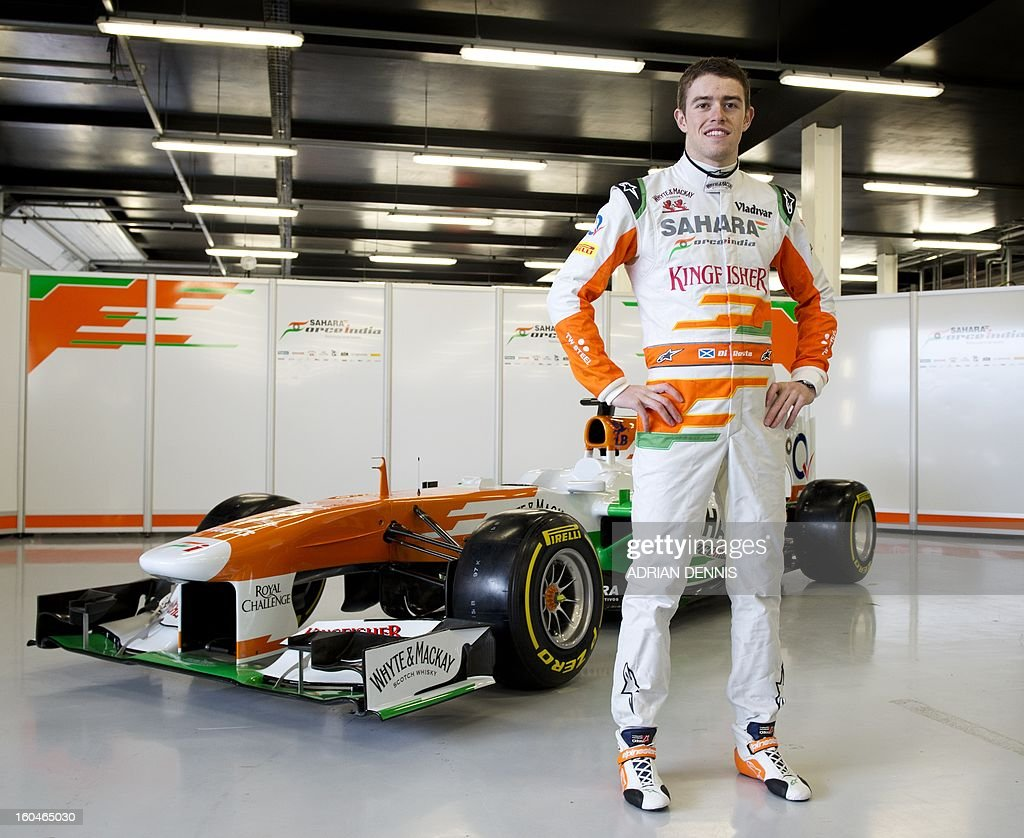 British driver Paul Di Resta (R) poses as during the unveiling of the Sahara Force India VJM06 Formula 1 racing car at Silverstone race circuit near Northampton on Febuary 1, 2013. Force India have yet to announce their second driver to join British driver Paul Di Resta.
