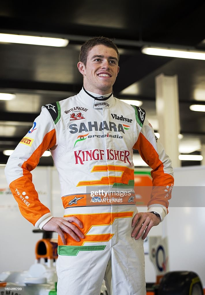 British driver Paul Di Resta poses as during the unveiling of the Sahara Force India VJM06 Formula 1 racing car at Silverstone race circuit near Northampton on Febuary 1, 2013. Force India have yet to announce their second driver to join Di Resta.