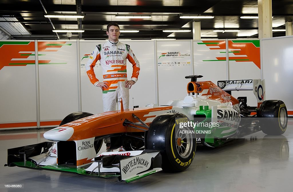British driver Paul Di Resta poses during the unveiling of the Sahara Force India VJM06 Formula 1 racing car at Silverstone race circuit near Northampton on Febuary 1, 2013. Force India have yet to announce their second driver to join Di Resta.