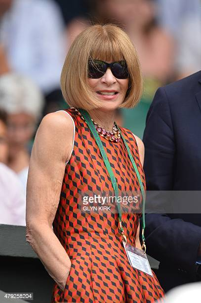 British editorinchief of Vogue magazine Anna Wintour arrives in the Royal Box on Centre Court on day four of the 2015 Wimbledon Championships at The...