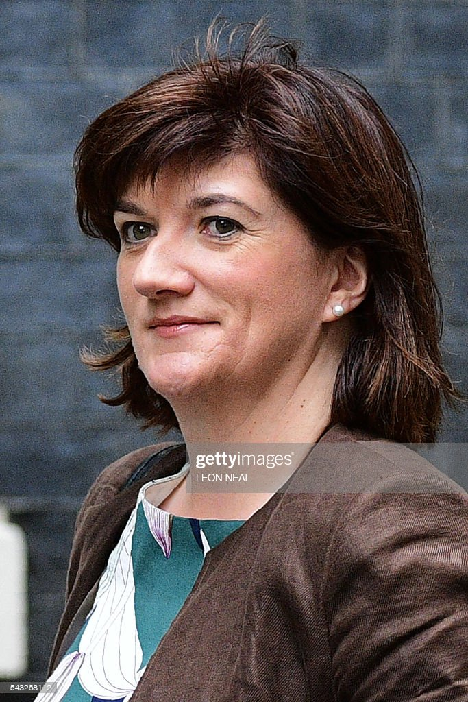 British Education Secretary and Minister for Women and Equalities Nicky Morgan arrives to attend a cabinet meeting at 10 Downing Street in central London on June 27, 2016. European stock markets mostly slid Monday as British finance minister George Osborne attempted to calm jitters after last week's shock Brexit referendum. Britain's surprise referendum decision to leave the European Union wiped $2.1 trillion off market valuations on Friday and sent the pound collapsing to a 31-year low against the dollar. / AFP / LEON