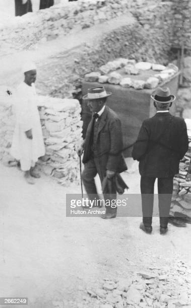 British Egyptologist and 5th Earl of Carnarvon George Edward Stanhope Molyneux arrives to inspect a tomb Original Publication People Disc HC0264