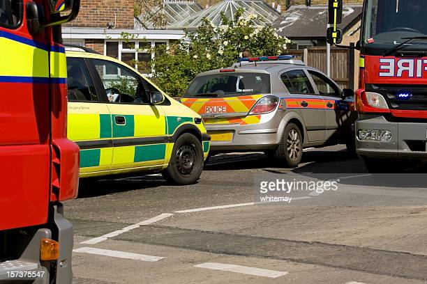 British emergency vehicles at a minor accident
