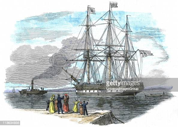 British emigrant ship being towed out of harbour before setting sail for Sydney Australia Certain skilled men and their families were given assisted...