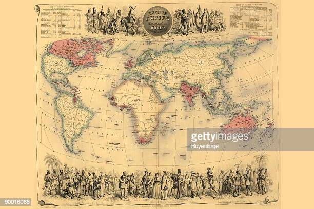 British Empire Throughout the World with Illustrated Peoples above Below 1850