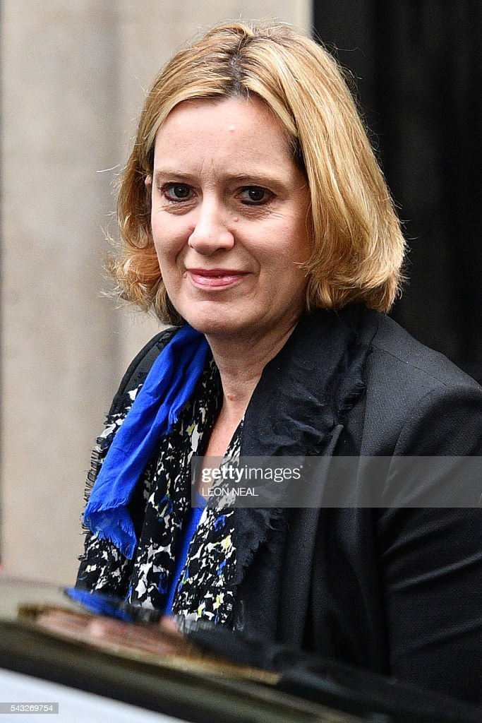 British Energy Secretary and Climate Change Secretary Amber Rudd arrives to attend a cabinet meeting at 10 Downing Street in central London on June 27, 2016. Britain should only trigger Article 50 to leave the EU when it has a 'clear view' of how its future in the bloc looks, finance minister George Osborne said Monday following last week's shock referendum. London stocks sank more than 0.8 percent in opening deals on Monday, despite attempts by finance minister George Osborne to calm jitters after last week's shock Brexit vote. / AFP / LEON