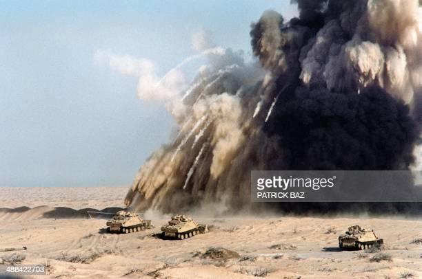 British engineers from the 7th armoured brigade bow up a mine shield 07 January 1991 in Saudi Arabian desert The British tanks cavalry and...