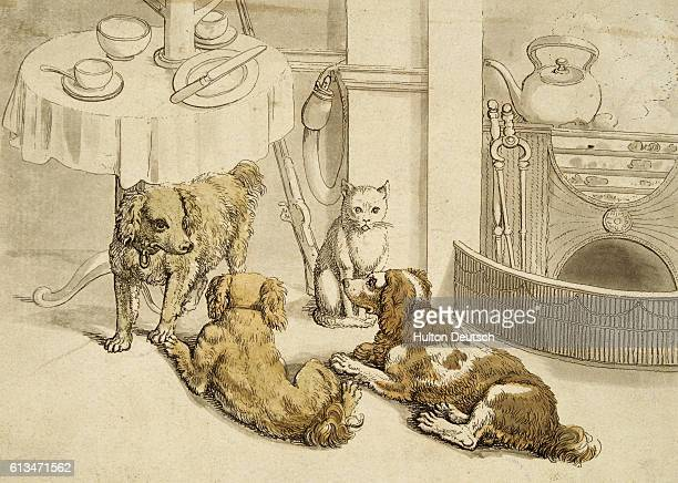 British engraving of pets assembled beside a breakfast table