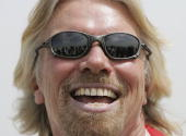 British Entrepreneur and businessman Sir Richard Branson poses during photocall on the manmade island known as 'United Kingdom' in the new...