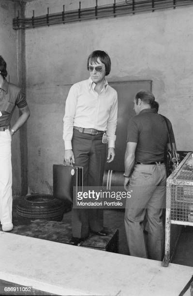 British entrepreneur Bernie Ecclestone in a pit during the qualifying sessions of the Italian Gran Prix Monza 1977