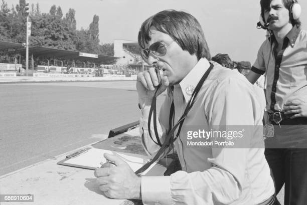 British entrepreneur Bernie Ecclestone taking the lap times during the qualifying sessions of the Italian Gran Prix Monza 1977