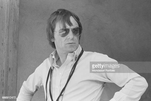 British entrepreneur Bernie Ecclestone watching the qualifying sessions of the Italian Gran Prix Monza 1977