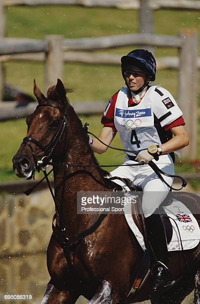 British equestrian Jeanette Brakewell competes on Over To You for the Great Britain team to finish in second place to win the silver medal in the...