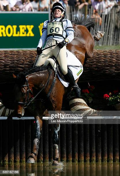 British equestrian Vicky Tuffs competes on Tudor Romance during the Cross Country Test at The Lake Complex at the 2007 Mitsubishi Motors Badminton...