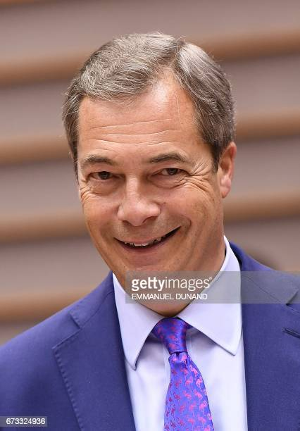 British Euroskeptic EU parliament member Nigel Farage takes part in a planery session at the European Parliament on the situation in Hungary in...