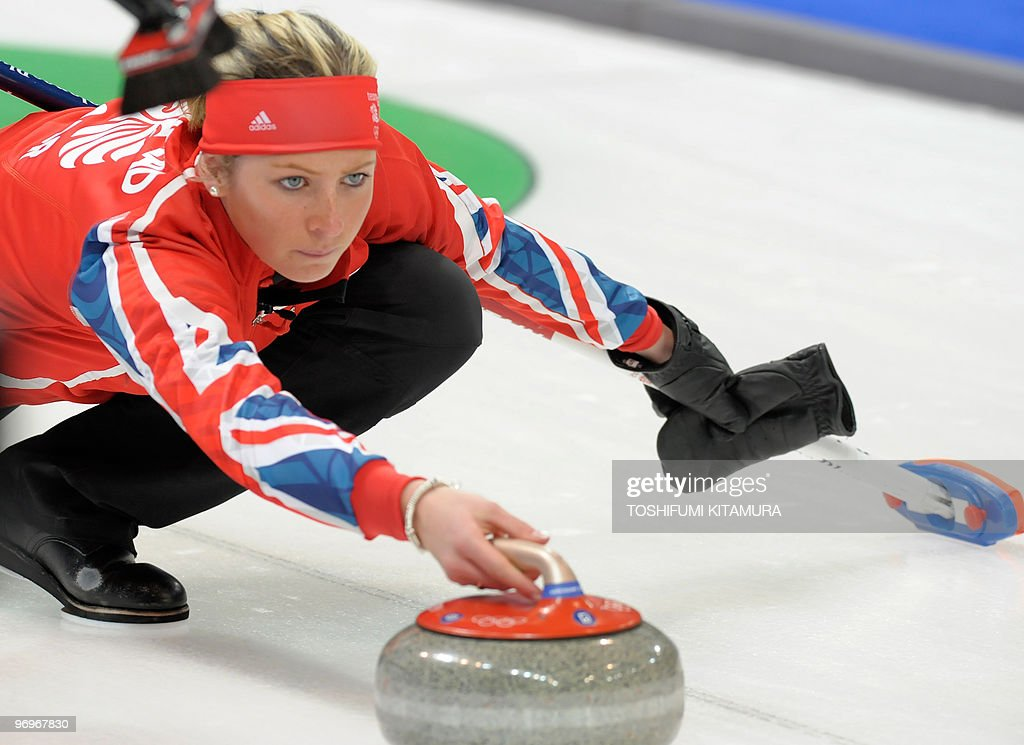 British Eve Muirhead throws the stone during the Vancouver Winter Olympics women's curling round robin match against Denmark at the Vancouver Olympic...