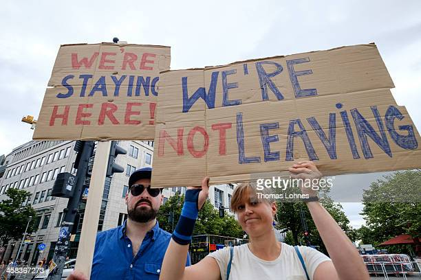 British expat hold up signs to protest for the United Kingdom to remain in the European Union on July 2 2016 in Berlin Germany A slim majority of...