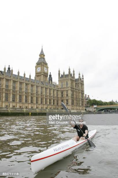 British explorer Lewis Pugh kayaks on the Thames during his announcement for his bid to attempt to kayak to the North Pole in aid of the Polar...