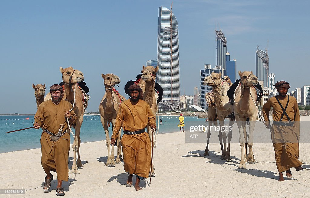 British explorers Adrian Hayes and UAE nationals Saeed alMesafry and Ghafan alJabry arrive at their final destination in Abu Dhabi on December 13...
