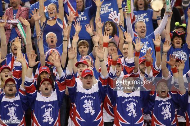 British fans cheer on Kyle Edmund during the third day of Davis Cup first round between Canada and Great Britain at TD Place in Ottawa Ontario...