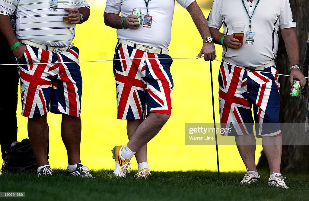 British fans watch the golf during the final round of the Omega Dubai Desert Classic at Emirates Golf Club on February 3, 2013 in Dubai, United Arab Emirates.