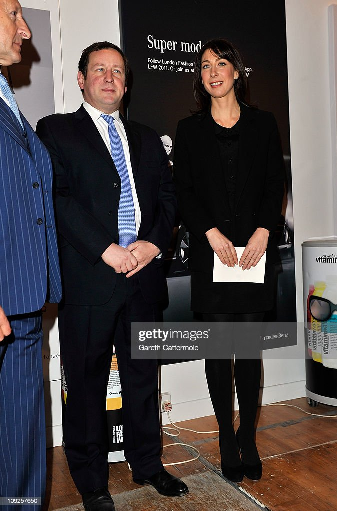 British Fashion Council Ambassador <a gi-track='captionPersonalityLinkClicked' href=/galleries/search?phrase=Samantha+Cameron&family=editorial&specificpeople=624344 ng-click='$event.stopPropagation()'>Samantha Cameron</a> officially opens London Fashion Week Autumn/Winter 2011 at Somerset House on February 18, 2011 in London, England.