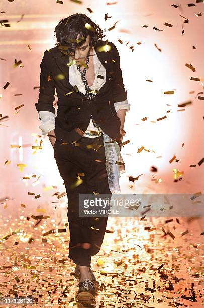 British fashion designer John Galliano at the finale of his Ready to Wear Spring Summer 2011 show as part of the Paris Fashion Week on October 03 2010
