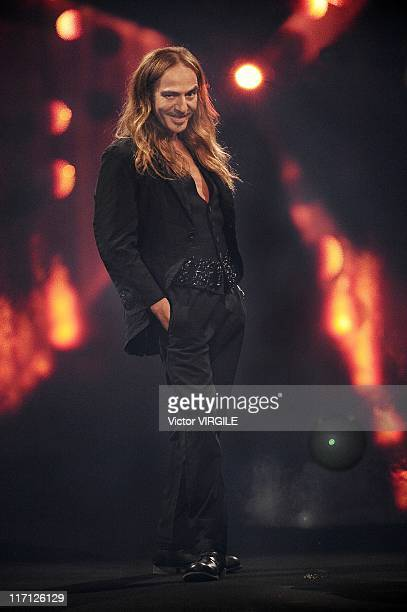 British fashion designer John Galliano at the finale of his Ready to Wear Spring Summer 2010 show as part of the Paris Fashion Week on October 07 2009