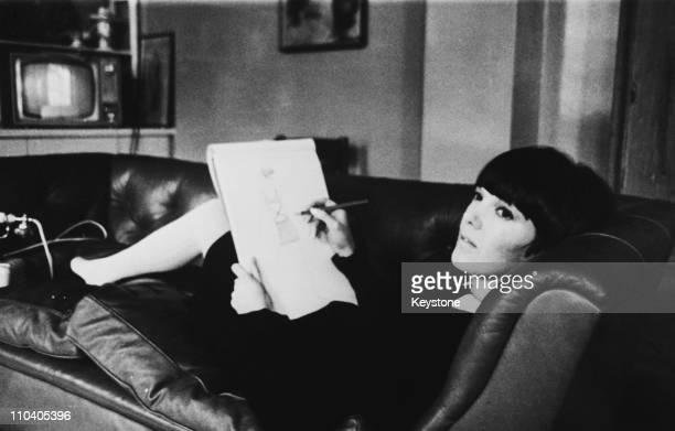 British fashion designer Mary Quant at work circa 1965