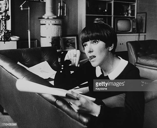 British fashion designer Mary Quant at work circa 1965