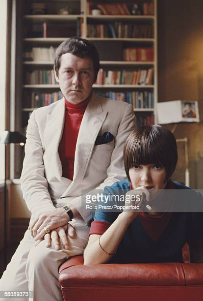 British fashion designer Mary Quant posed with her husband Alexander Plunket Greene at home in their London house in October 1967