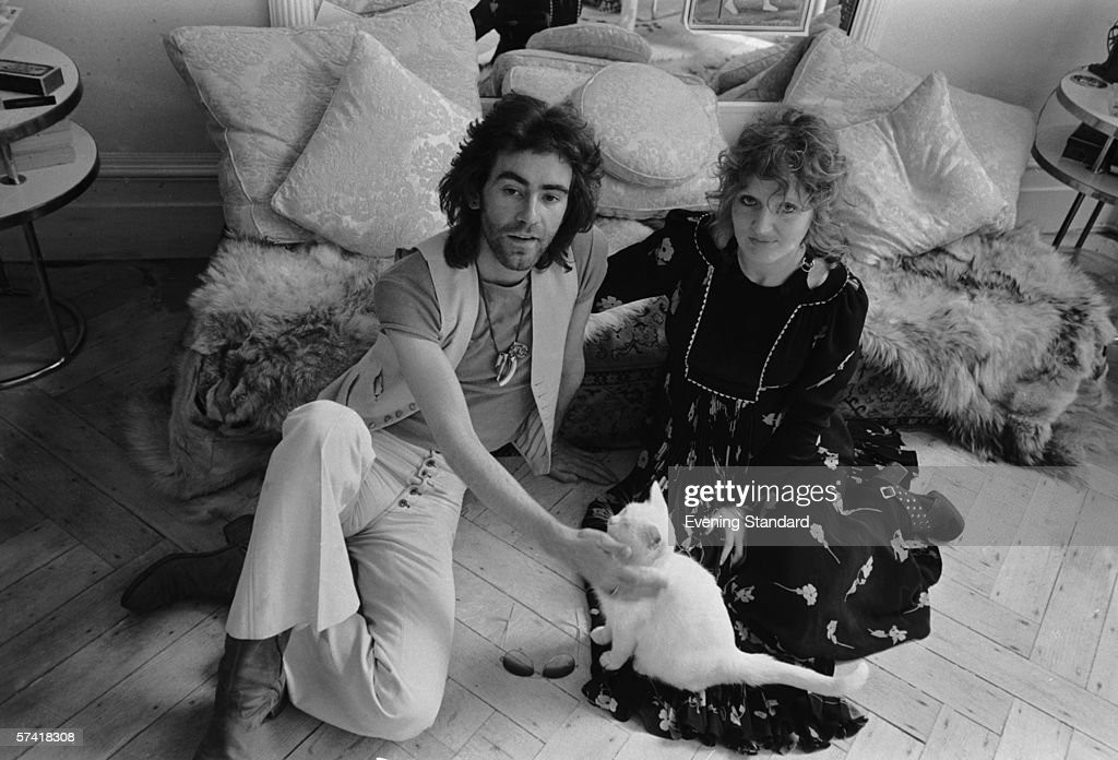 British fashion designer Ossie Clark (1942 - 1996) with his wife, textile designer Celia Birtwell, July 1971.