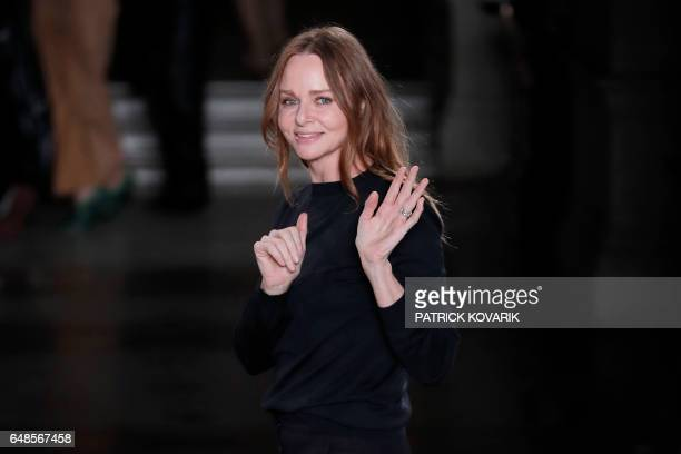 British fashion designer Stella McCartney acknowledges the audience at the end of her women's FallWinter 20172018 readytowear collection fashion show...