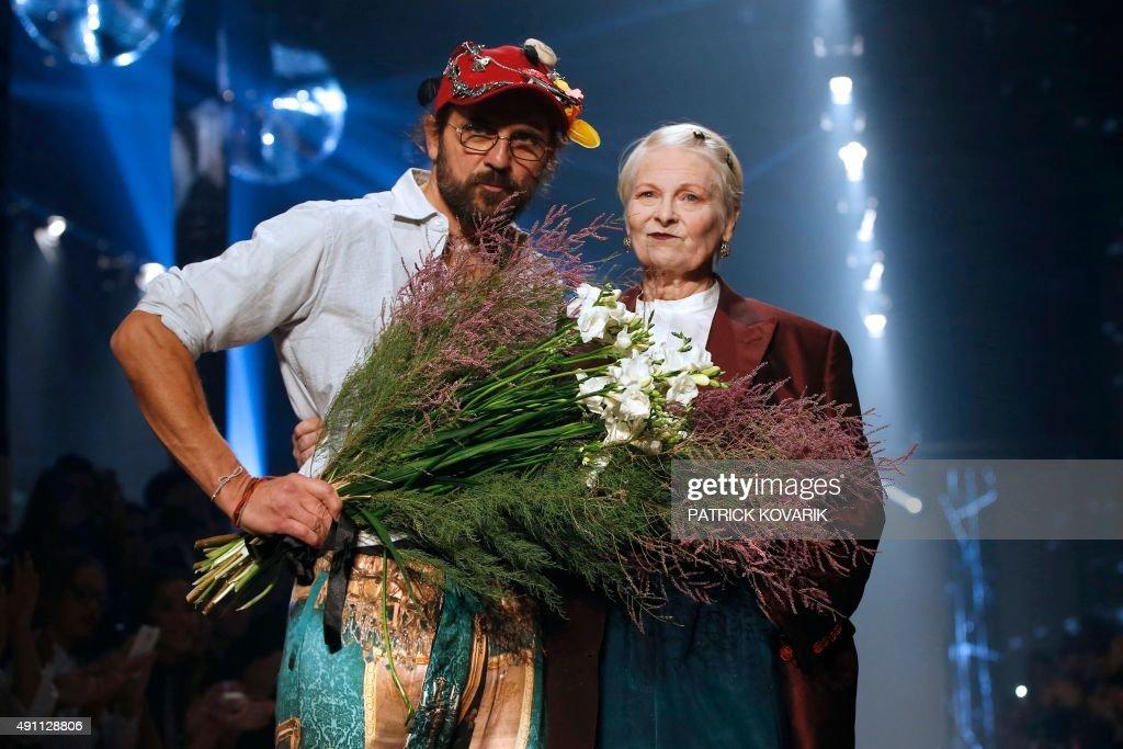British fashion designer Vivienne Westwood acknowledges the public with her husband Andreas Kronthaler after the Vivienne Westwood 2016 Spring/Summer...