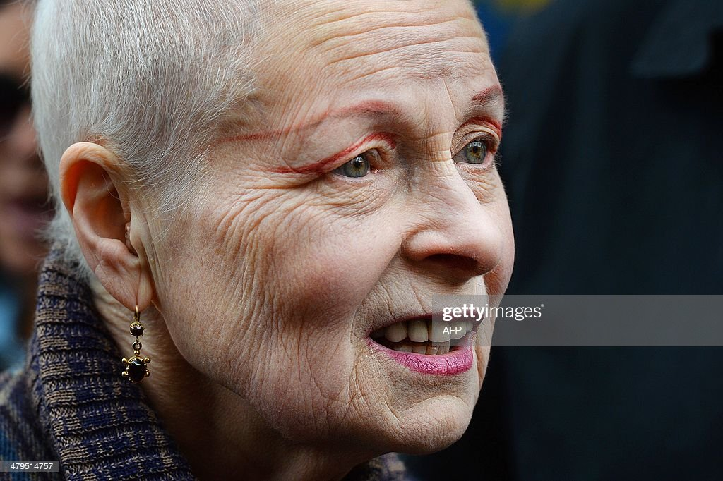 British fashion designer Vivienne Westwood attends an antifracking protest in London on March 19 2014 Activists and demonstrators joined the Fracked...