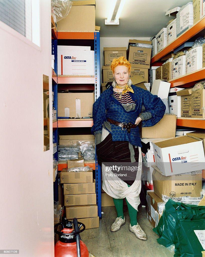 British fashion designer Vivienne Westwood in a storage area London 26th March 2003