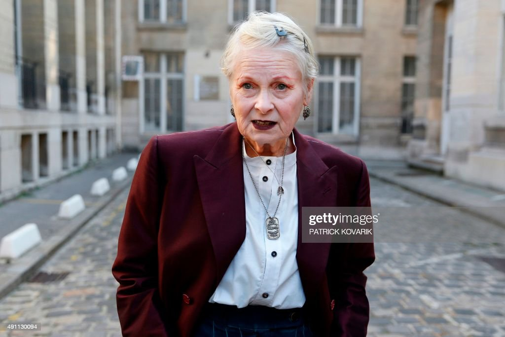 British fashion designer Vivienne Westwood poses before her 2016 Spring/Summer readytowear collection fashion show on October 3 2015 in Paris AFP...